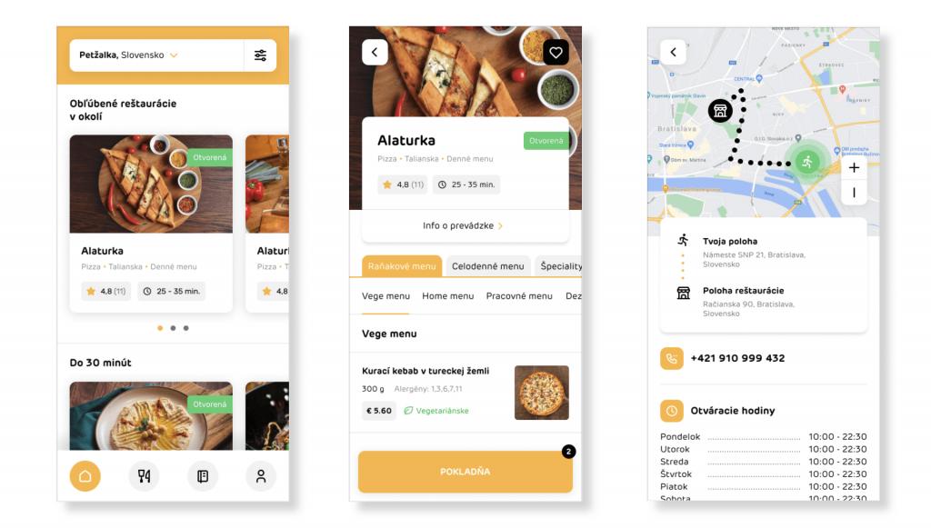 Android a iPhone mobilná aplikácia pre objednávanie jedľa.