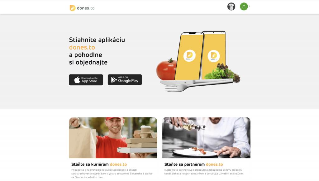 Náhľad grafiky pre webový informačný systém donáškového portálu Dones.to. Prepojenie reštaurácii a mobilných aplikácii