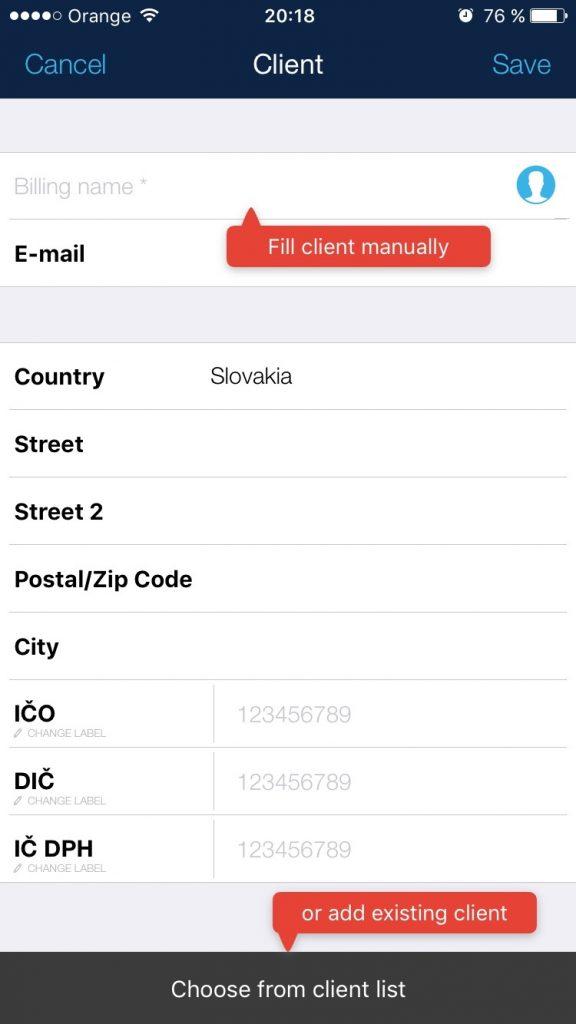 UX a UI dizajn pre vytvorenie novej faktúry v mobile