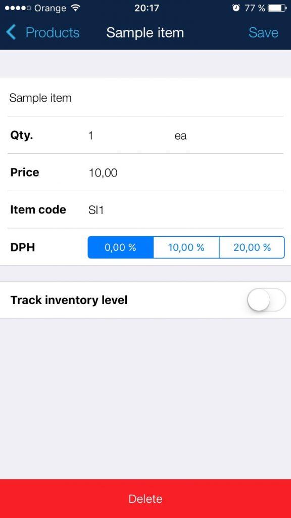 Jednoduchý UX a UI dizajn pre mobilnú aplikáciu na vytváranie faktúr.