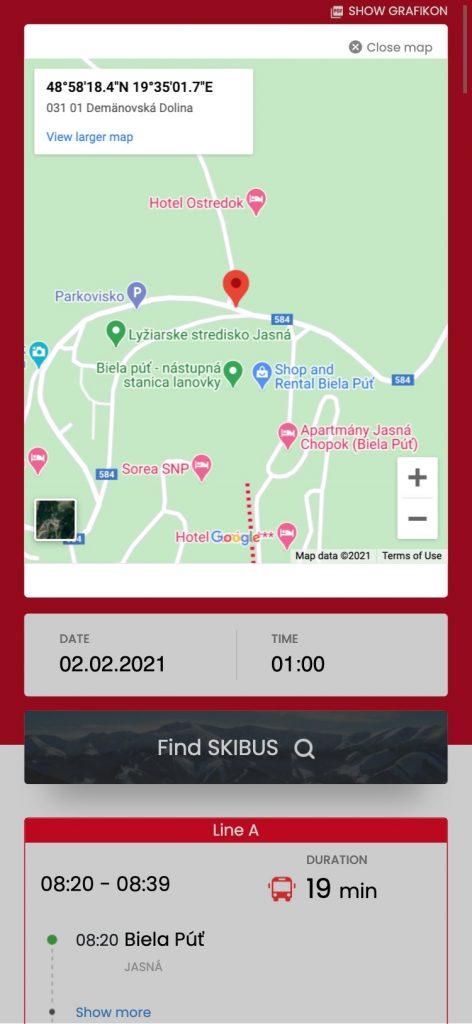 Mobilná aplikácia pre Android a iOS. Sledovanie autobusovej dopravy na Liptove.