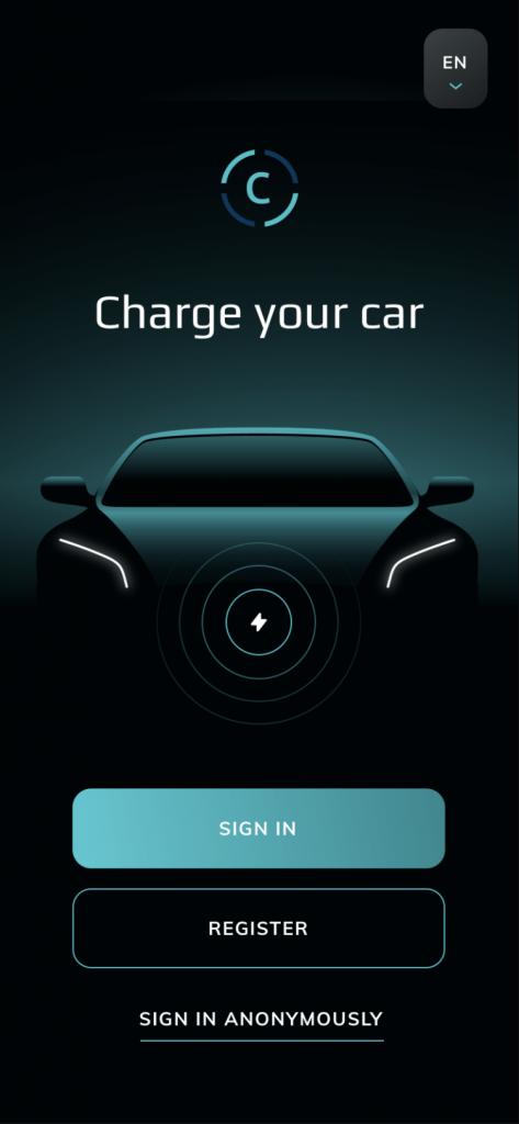 Ukážka vytvorenej webovej aplikácie v ReactJS pre nabíjanie automobilov