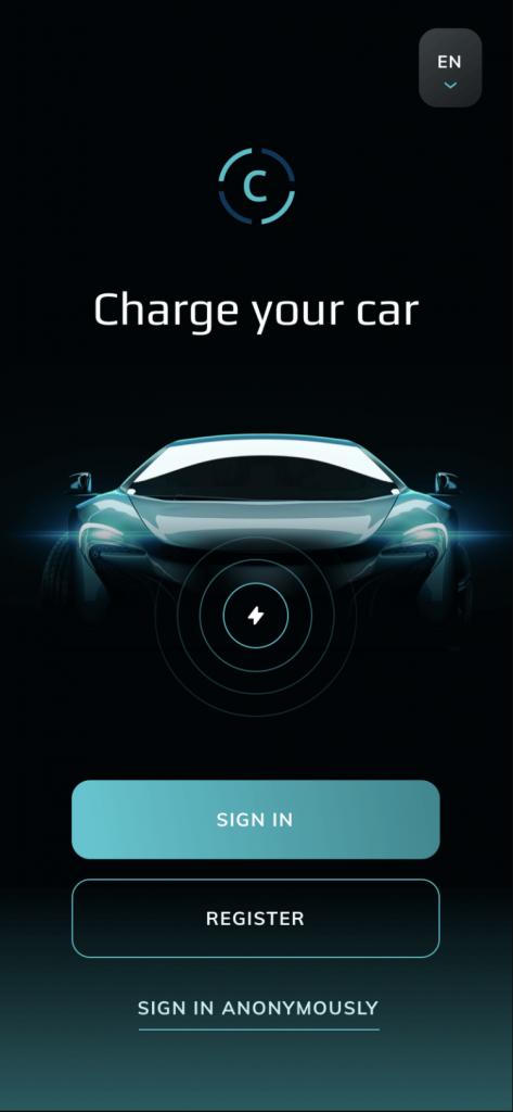 Ukážka vytvorenej webovej aplikácie pre nabíjanie automobilov