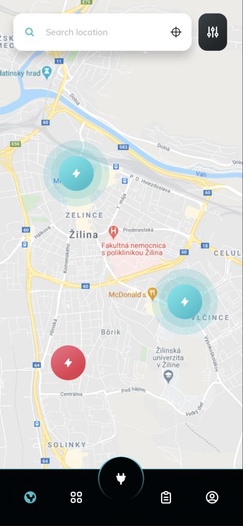 Mapový portál zobrazujúci nabíjacie stanice. Riešenie v React JS