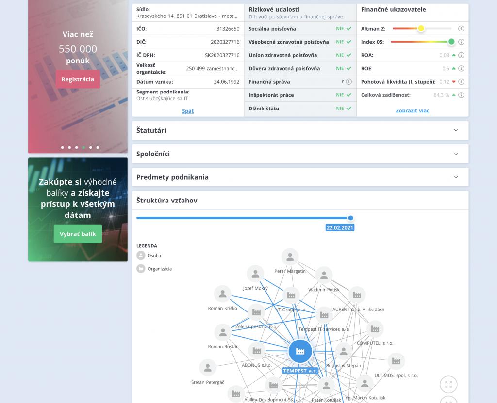 Programovanie grafického poprepájania firiem cez GraphQL