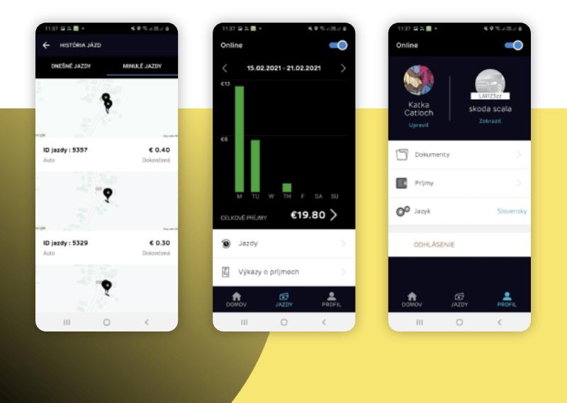 Natívna mobilná aplikácia pre Android zariadenia. Aplikácia pre kuriérov donáškového informačného systému.