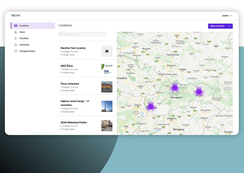 Webová administrácia s mapovým portálom, ktorý zobrazuje jednotlivé nabijacie stanice.a dokáže ich riadiť.